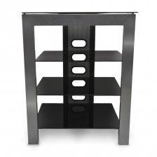 Fisual Dynami Silver Hi-Fi Rack with Black Glass