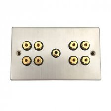 Fisual Speaker Wall Plate 4.1 Stainless Steel w/ Black Inserts