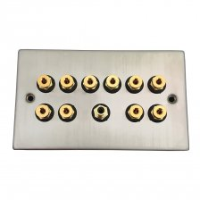 Fisual Speaker Wall Plate 5.1 Stainless Steel w/ Black Inserts