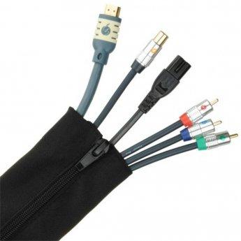 Fisual Zip Cable Tidy Wrap 50mm Diameter Black 1m