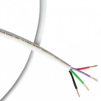 Fisual S-Flex Studio Grade White Bi-Wire Speaker Cable 4 x 2.5mm 100m Reel