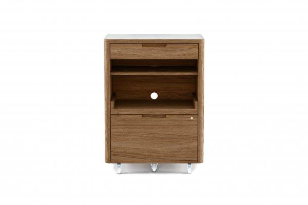 Kronos 6717 Multifunction Cabinet Satin White / Natural Walnut