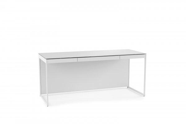 Centro 6401 Desk Satin White on Oak / Grey Glass