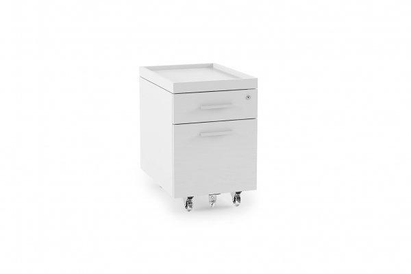 Centro 6407 Mobile File Pedestal Satin White on Oak
