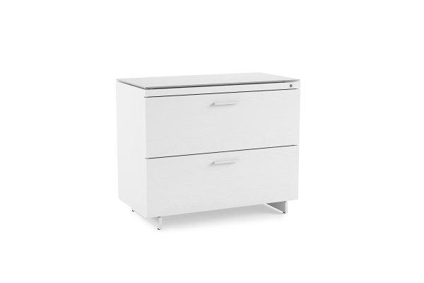 Centro 6416 Lateral File Cabinet Satin White on Oak / Grey Glass