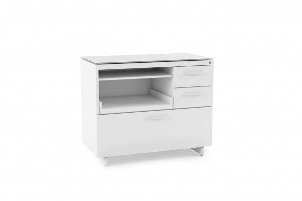 Centro 6417 Multifunction Cabinet Satin White on Oak / Grey Glass