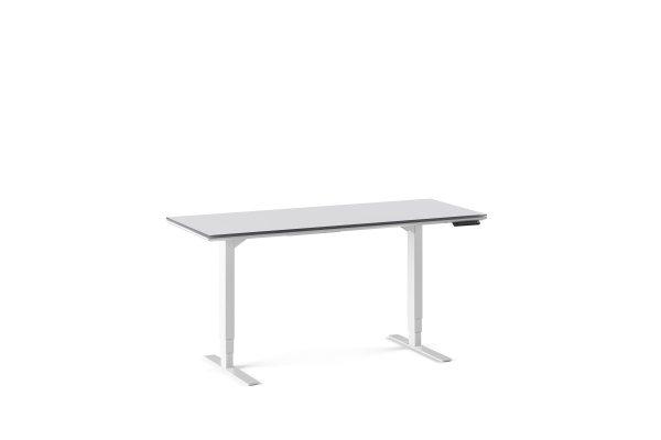 Centro 6451-2 Lift Standing Desk Smooth Satin White / Grey Glass