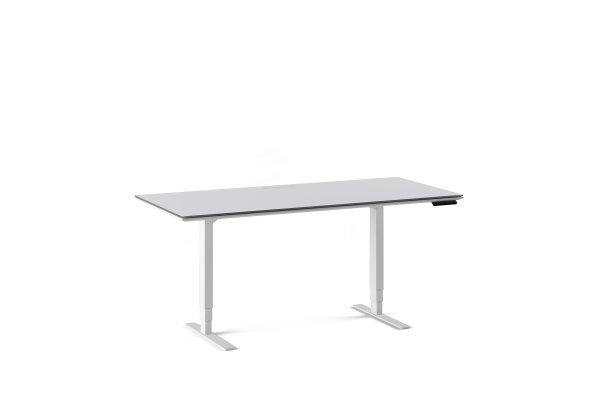 Centro 6452-2 Lift Standing Desk Smooth Satin White / Grey Glass