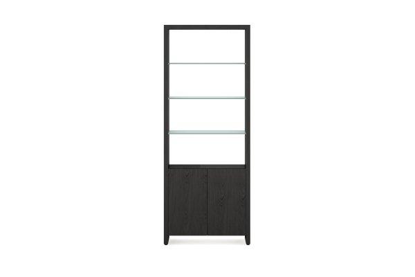 BDI Linea 5802 Charcoal Stained Ash Double Width Bookshelf Unit