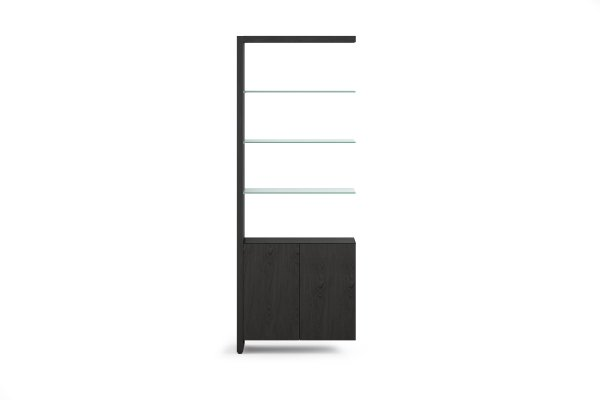 BDI Linea 5802A Charcoal Stained Ash Double Width Bookshelf Add On