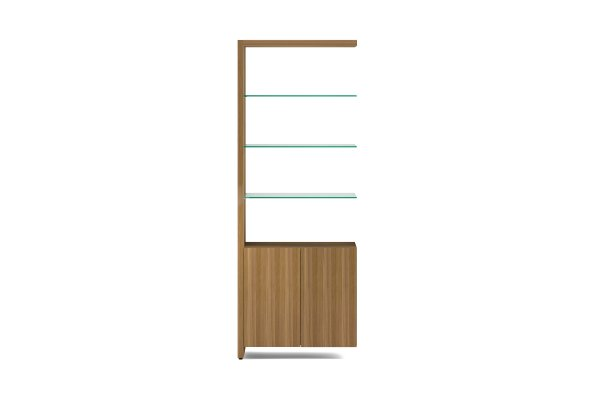 BDI Linea 5802A Natural Walnut Double Width Bookshelf Add On