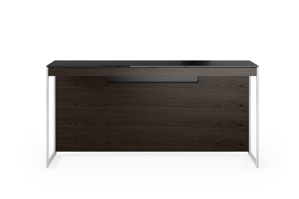 Sequel 20 6102 Console / Laptop Desk Charcoal Stained Ash w/ Satin Nickel Legs
