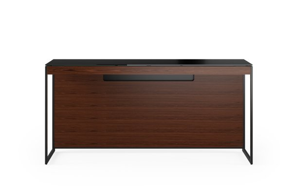 Sequel 20 6102 Console / Laptop Desk Chocolate Stained Walnut w/ Black Steel Legs
