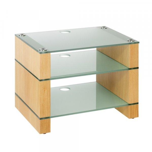 Blok STAX 450 Natural Oak 3 Shelf Hi-Fi Rack w/ Etched Glass
