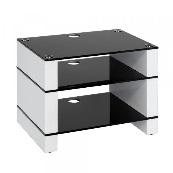 Blok STAX 450 Gloss White 3 Shelf Hi-Fi Rack w/ Black Glass