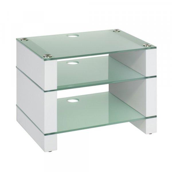 Blok STAX 450 Gloss White 3 Shelf Hi-Fi Rack w/ Etched Glass