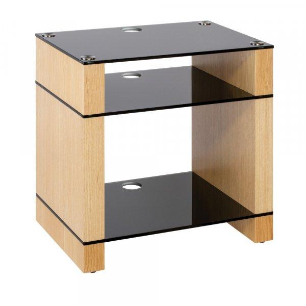 Blok STAX 600X Natural Oak 3 Shelf Hi-Fi Rack w/ Black Glass