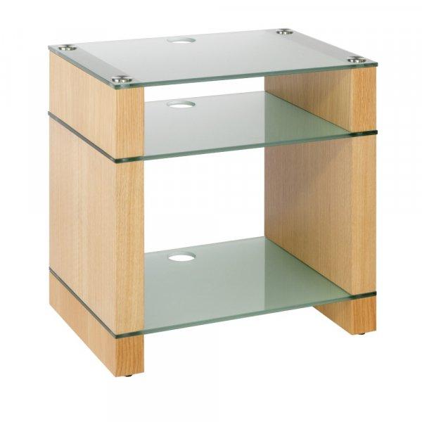 Blok STAX 600X Natural Oak 3 Shelf Hi-Fi Rack w/ Etched Glass