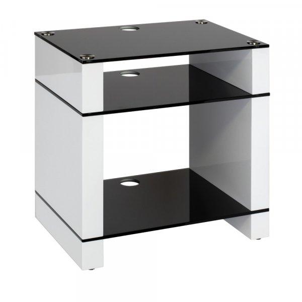 Blok STAX 600X Gloss White 3 Shelf Hi-Fi Rack w/ Black Glass