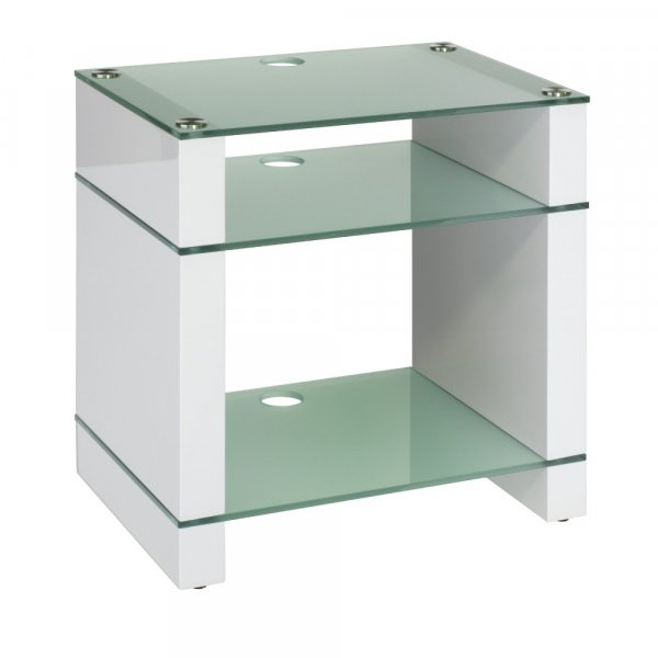 Blok STAX 600X Gloss White 3 Shelf Hi-Fi Rack w/ Etched Glass