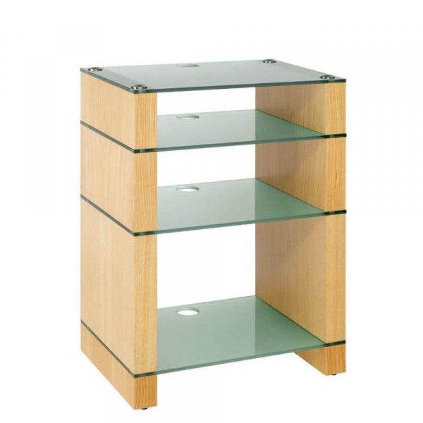 Blok STAX 810X Natural Oak 4 Shelf Hi-Fi Rack w/ Etched  Glass
