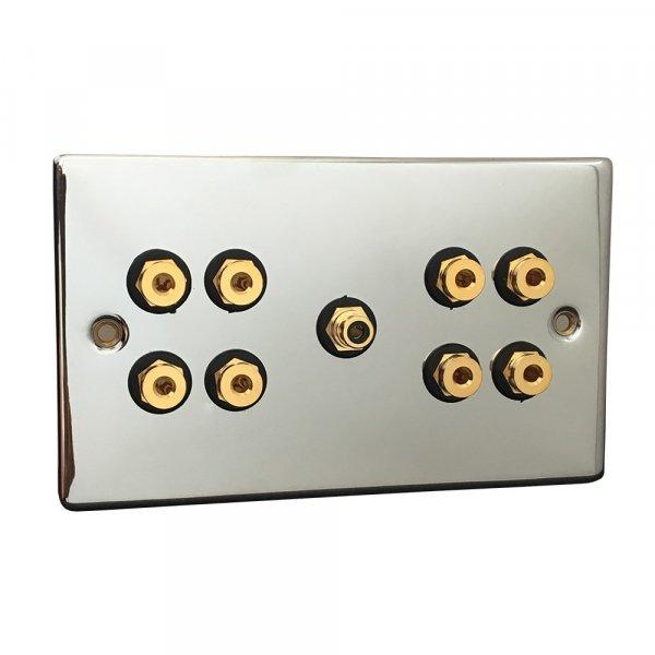 Fisual Speaker Wall Plate 4.1 Polished Chrome w/ Black Inserts