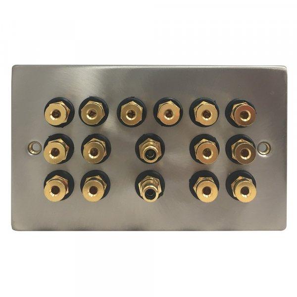 Fisual Speaker Wall Plate 7.2 Satin Chrome w/ Black Inserts