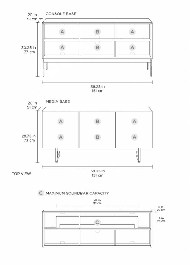 Elements 8777-CO Storage Console Ricochet / Charcoal