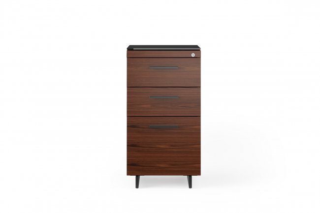 Sequel 20 6114 3 Drawer File Cabinet Chocolate Stained Walnut w/ Black Steel Finish