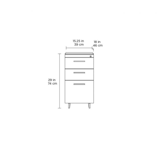Sequel 20 6114 3 Drawer File Cabinet Natural Walnut w/ Black Steel Finish
